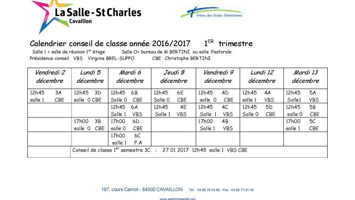 Dates des conseils de classes du 1er trimestre